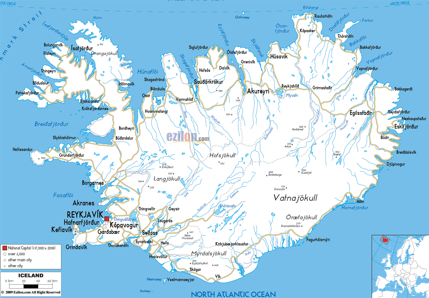 Large detailed road map of Iceland with all cities and airports – Iceland Tourist Map