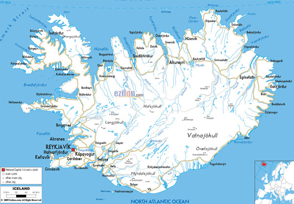 Large detailed road map of Iceland with all cities and airports.