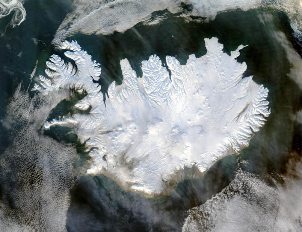 Large detailed satellite map of Iceland in winter.