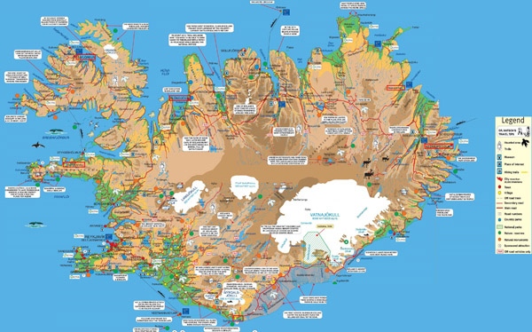 Large detailed tourist map of Iceland. Iceand large detailed tourist map.
