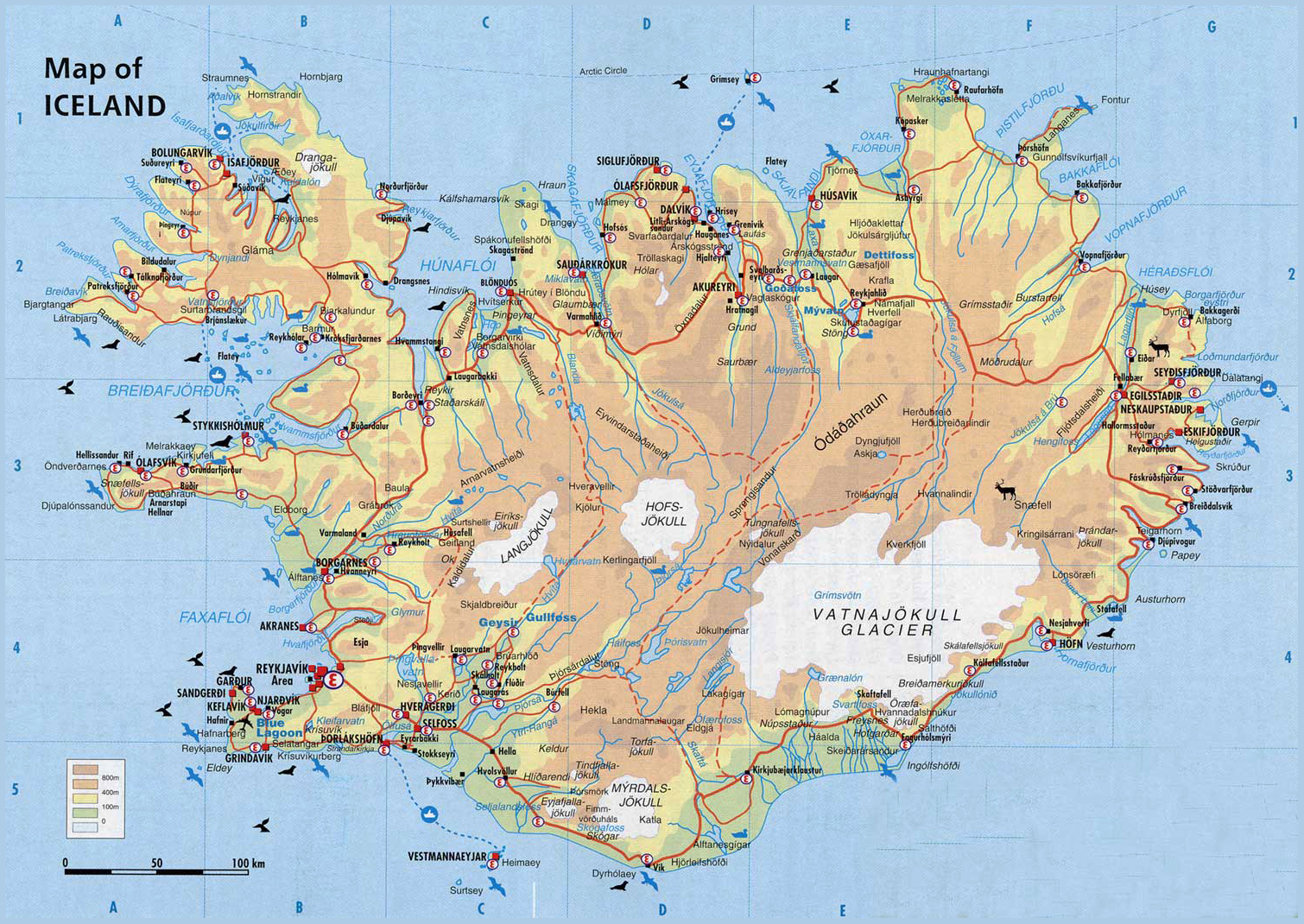 physicalmapoficelandjpg – Iceland Tourist Map