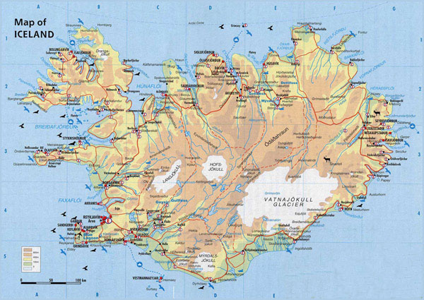 Physical map of Iceland. Iceand physical map.