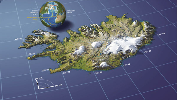 Relief map of Iceland. Iceand relief map.