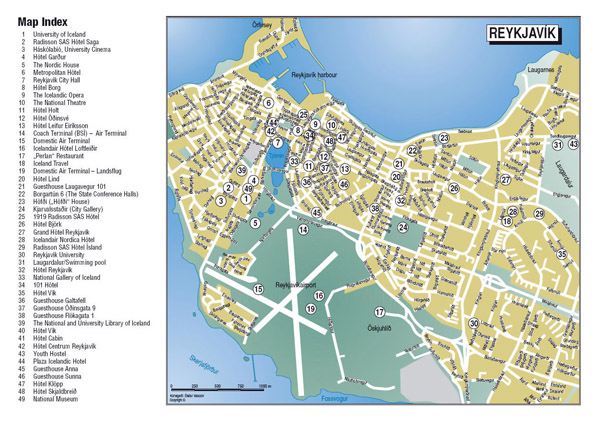 Detailed tourist map of central part of Reykjavik city.