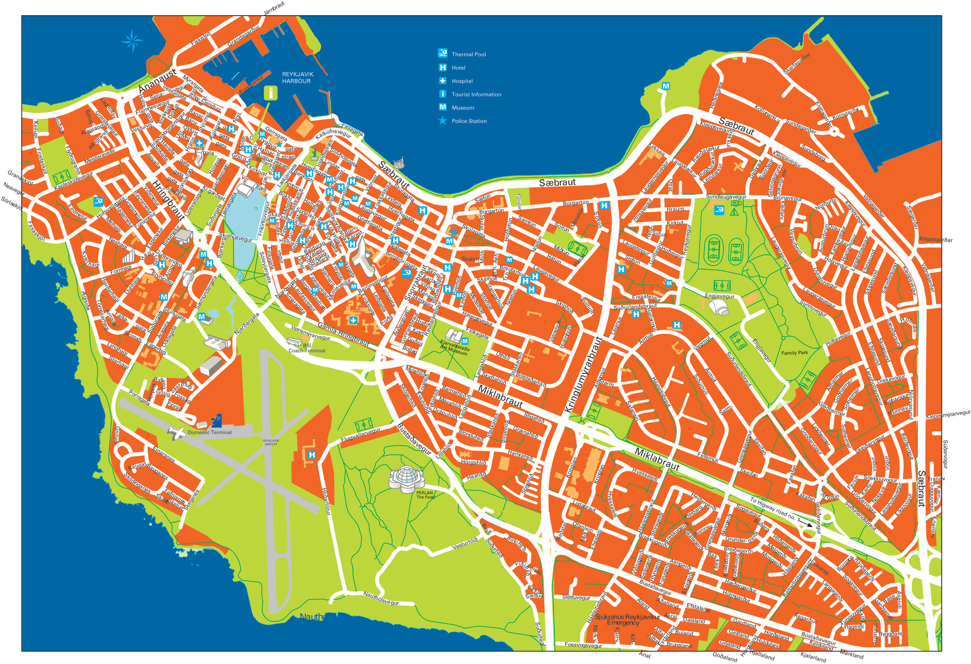 Large detailed road and tourist map of Reykjavik city center – Tourist Map Iceland
