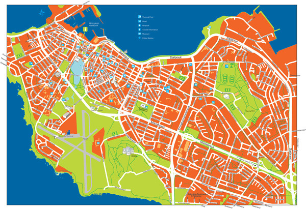 Large detailed road and tourist map of Reykjavik city center.