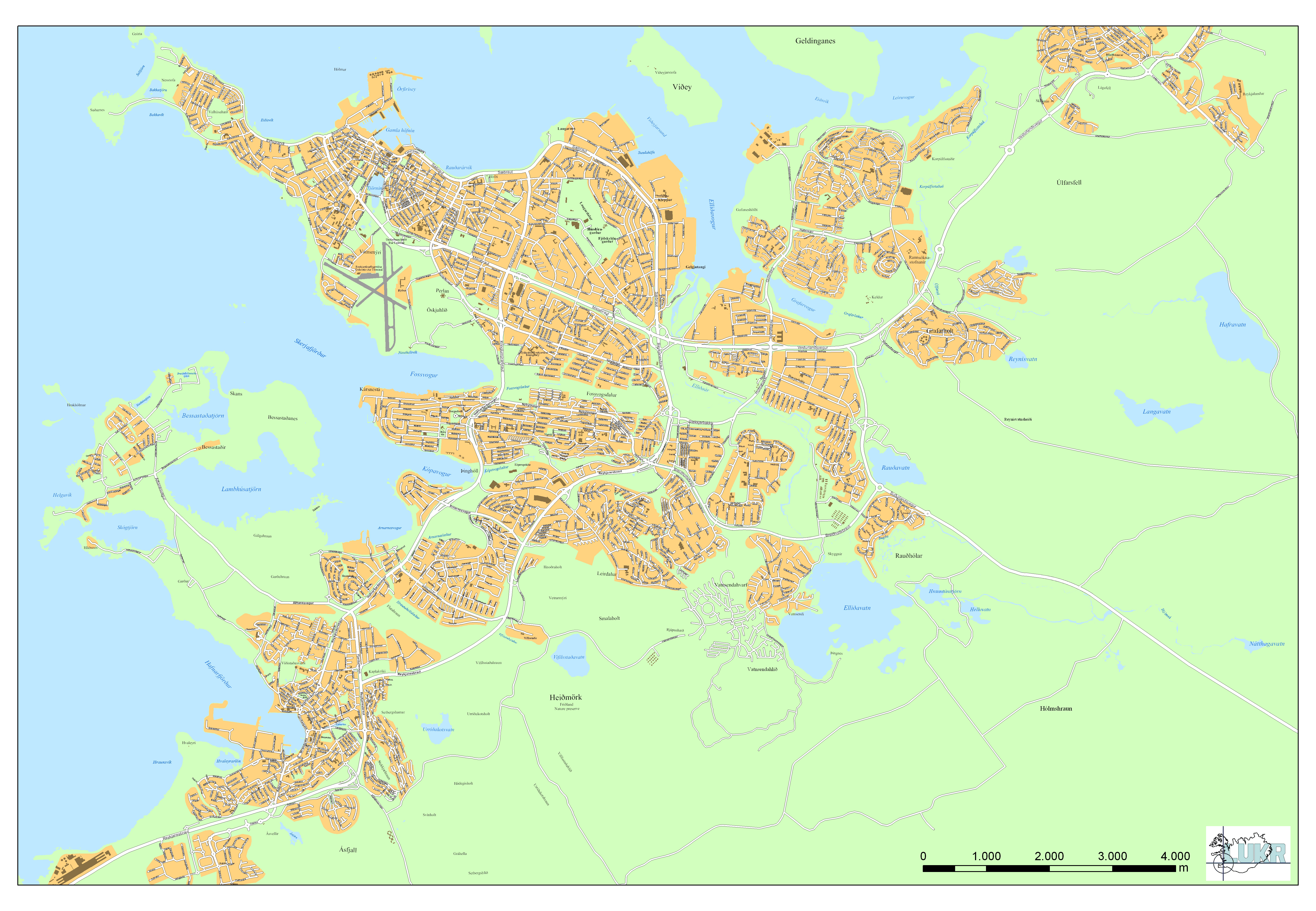 Large detailed road map of Reykjavik city Reykjavik city large – Tourist Map Of Reykjavik