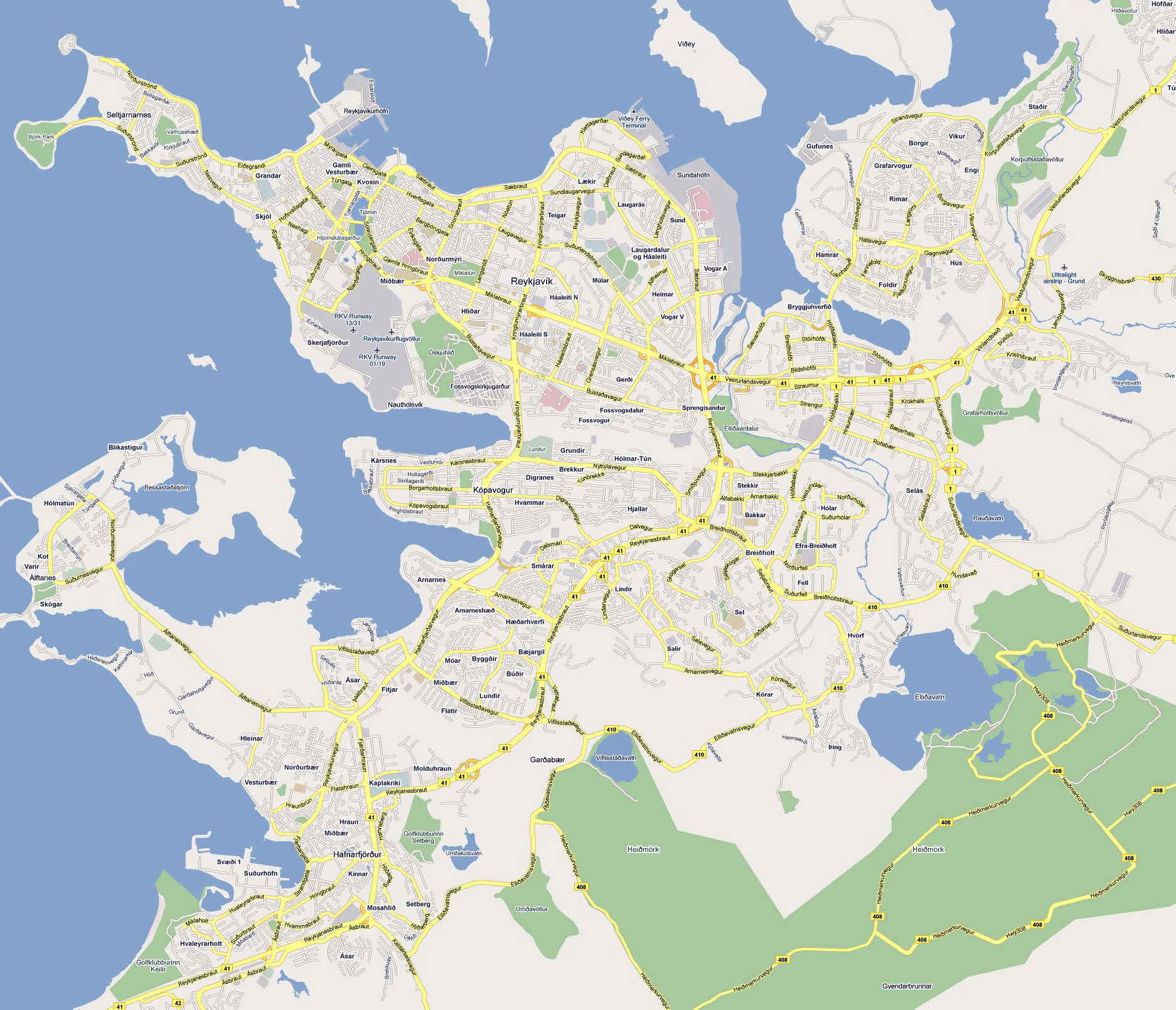 Large road map of Reykjavik city. Reykjavik large road map | Vidiani ...