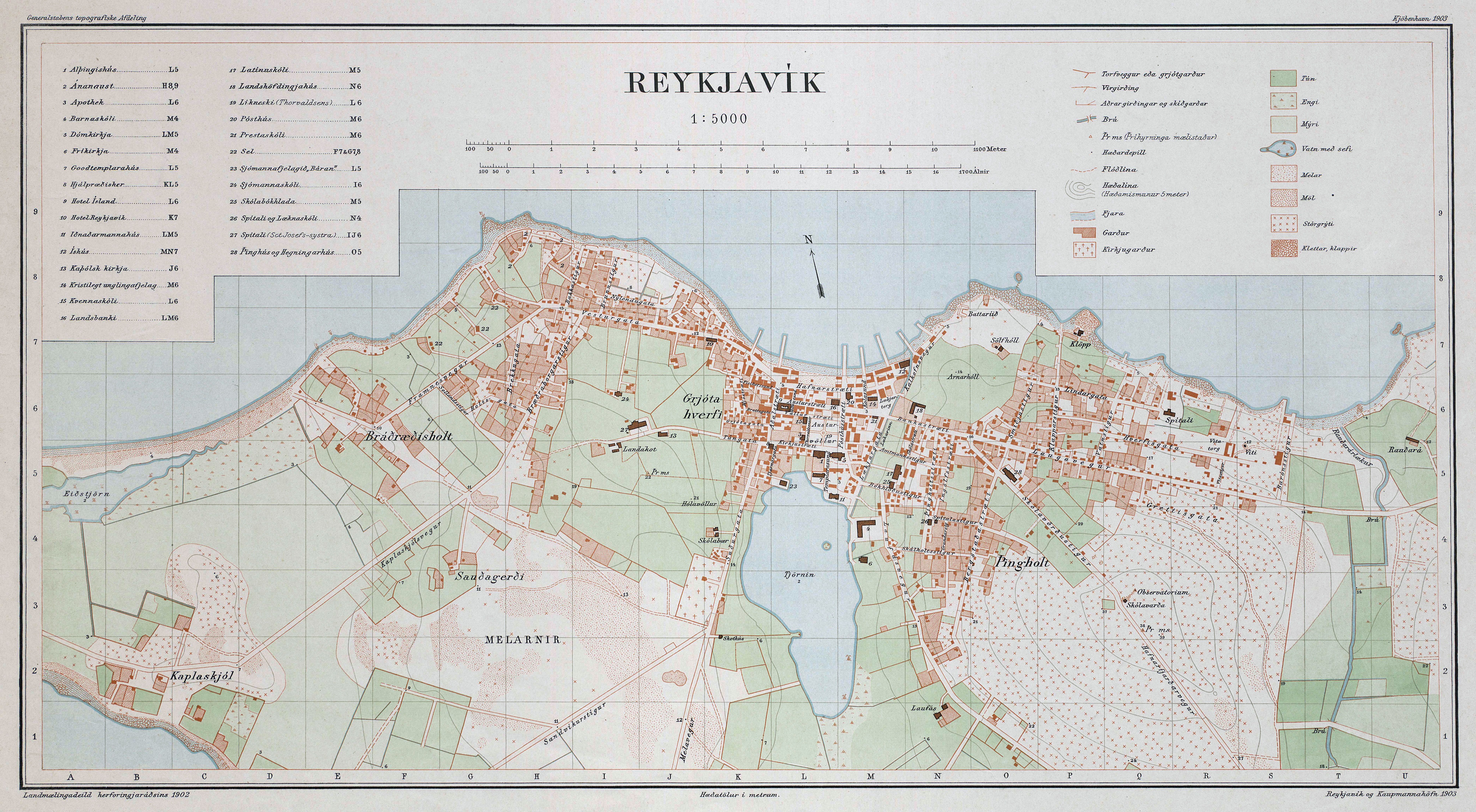 Large scale detailed old map of Reykjavik city 1903 – Tourist Map Of Reykjavik