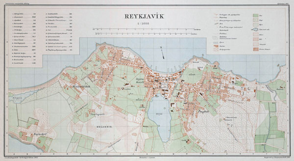Large scale detailed old map of Reykjavik city - 1903.