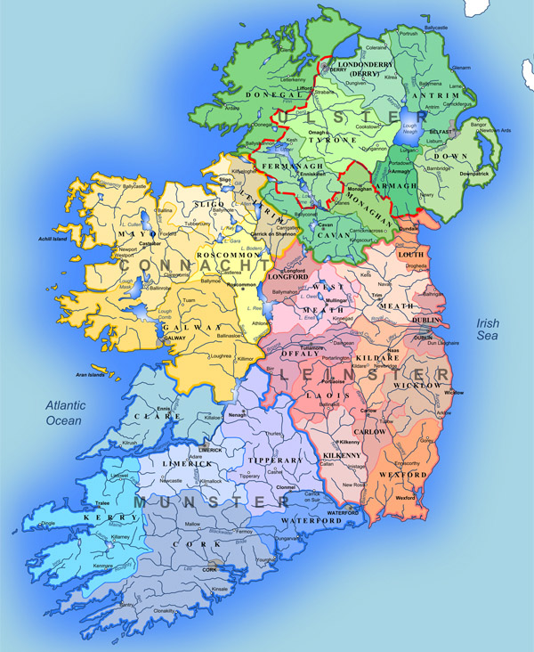 Administrative map of Ireland. Ireland administrative map.
