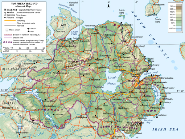 Detailed general map of northern Ireland.