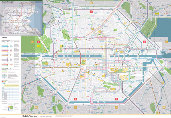 Large detailed map of Dublin city center with transport infrastructure.