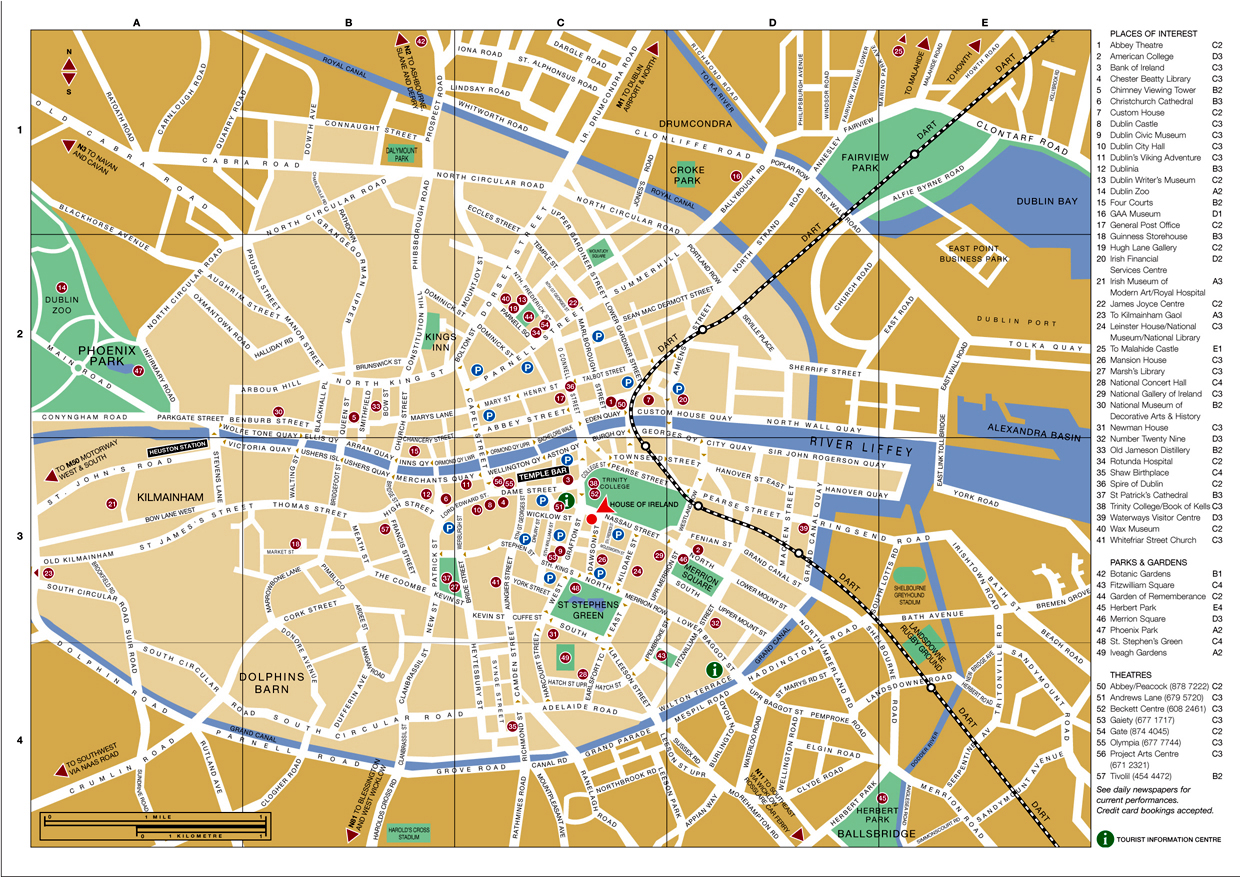 Large detailed tourist map of Dublin city center Dublin city – Tourist Map Dublin