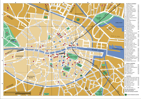 Large detailed tourist map of Dublin city center.