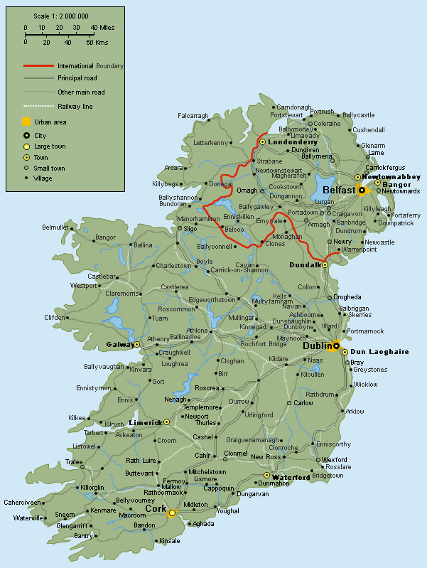 Full road map of Ireland. Ireland full road map | Vidiani.com | Maps Ireland Maps on