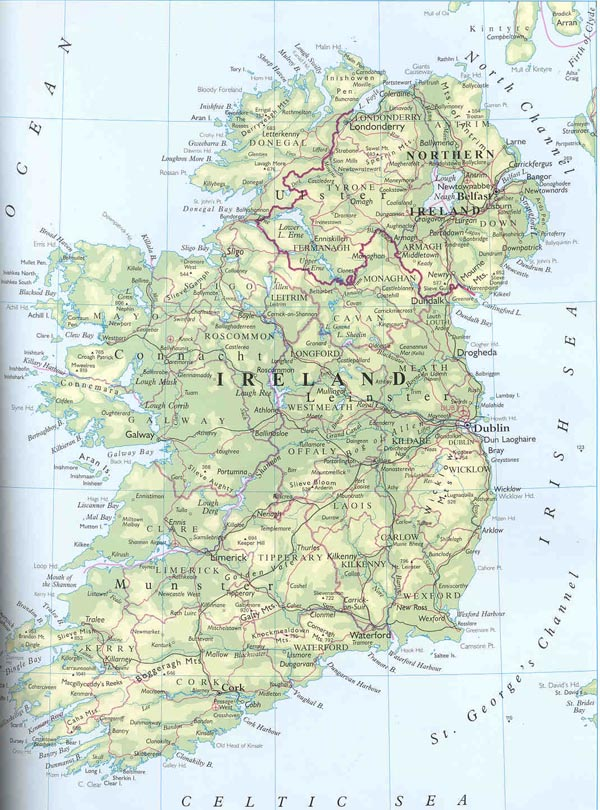 General map of Ireland. Ireland general map.