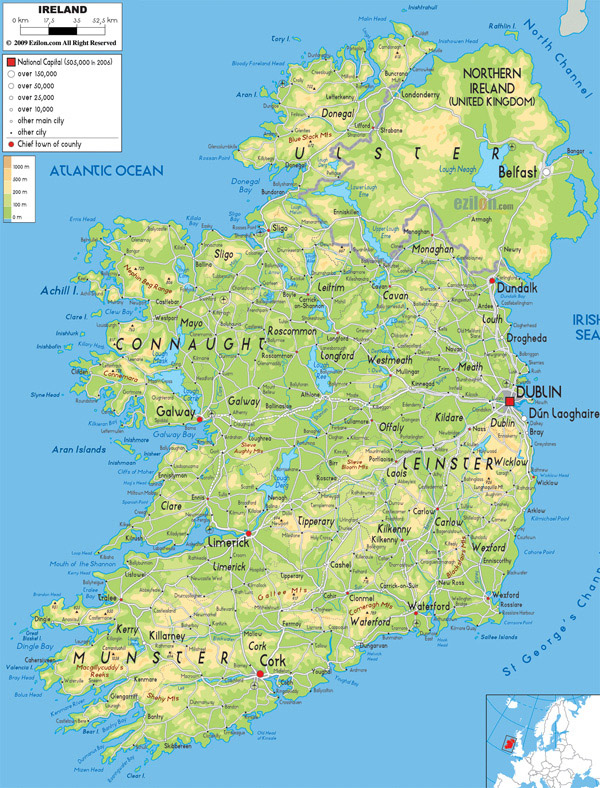 Large detailed physical map of Ireland with all cities, roads and airports.