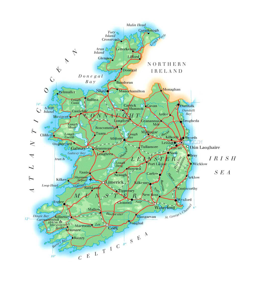 Ireland City Map Map of Ireland With Roads