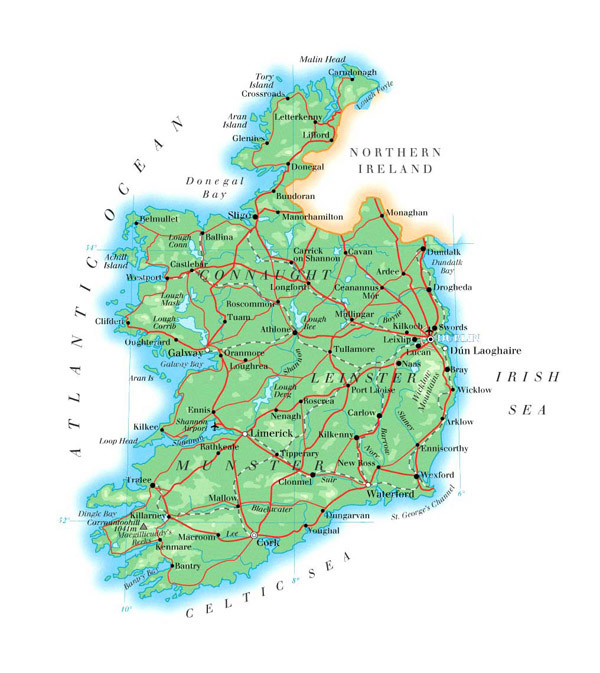 Large detailed physical map of Ireland with roads, cities and airports.