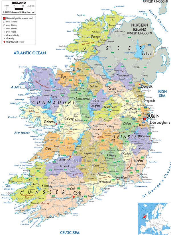 Large detailed political and administrative map of Ireland with all cities, roads and airports.