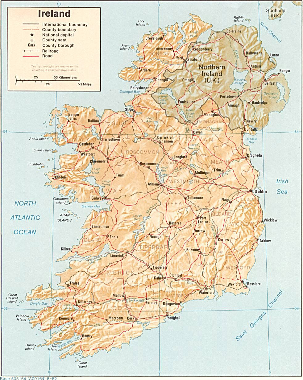 Map Of Ireland Roads.Large Detailed Relief And Political Map Of Ireland With Roads And