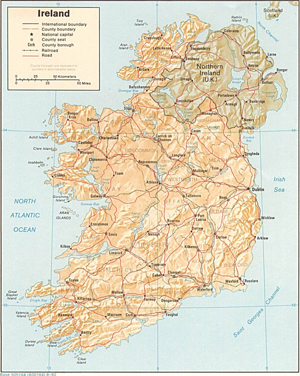 Large detailed relief and political map of Ireland with roads and cities.
