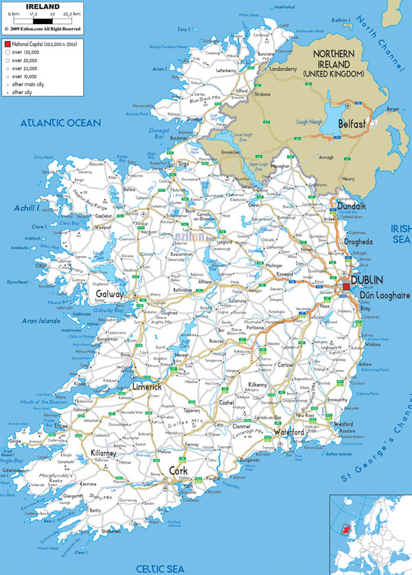 Large detailed road map of Ireland with all cities and airports.