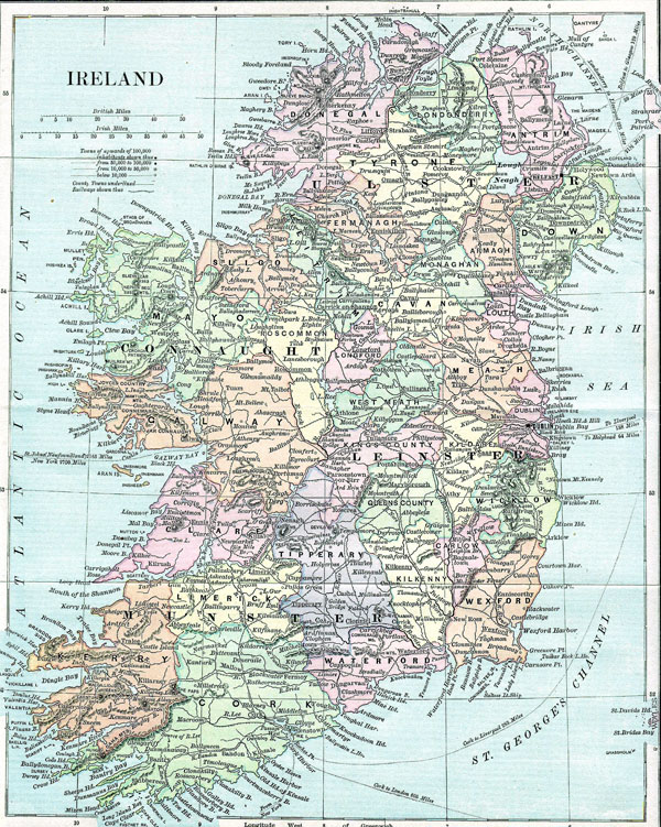 Old map of Ireland. Ireland old map.