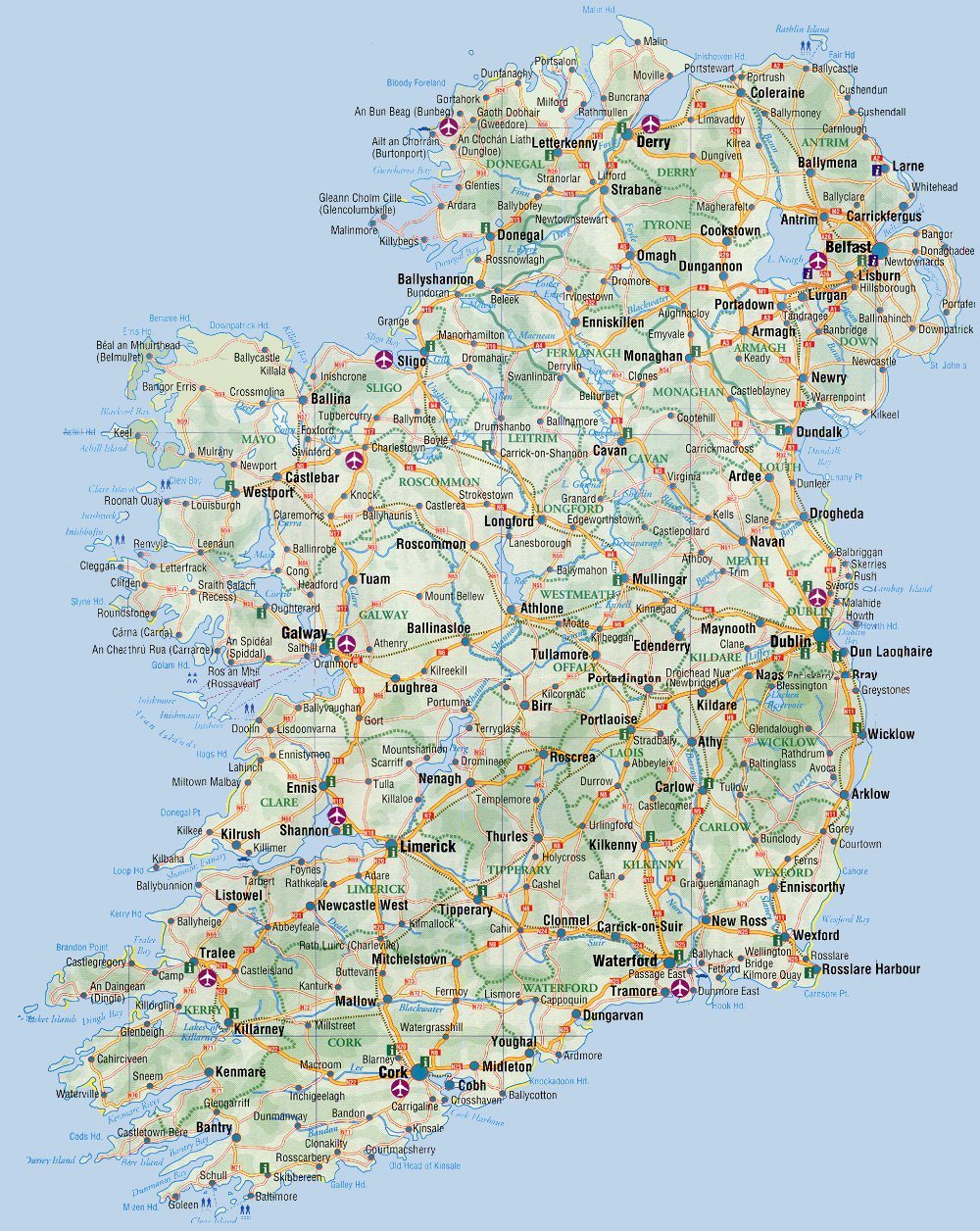 Road map of Ireland Ireland road map Vidianicom Maps of all