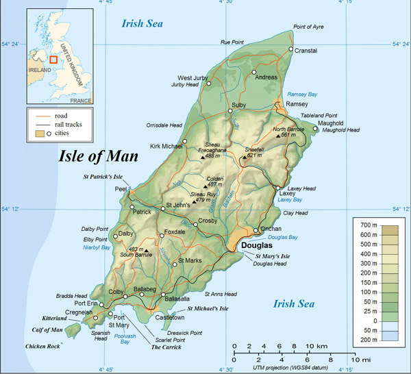 Detailed physical map of Isle of Man.