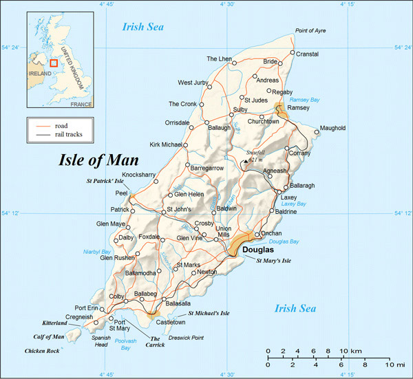 Detailed relief and road map of Isle of Man.