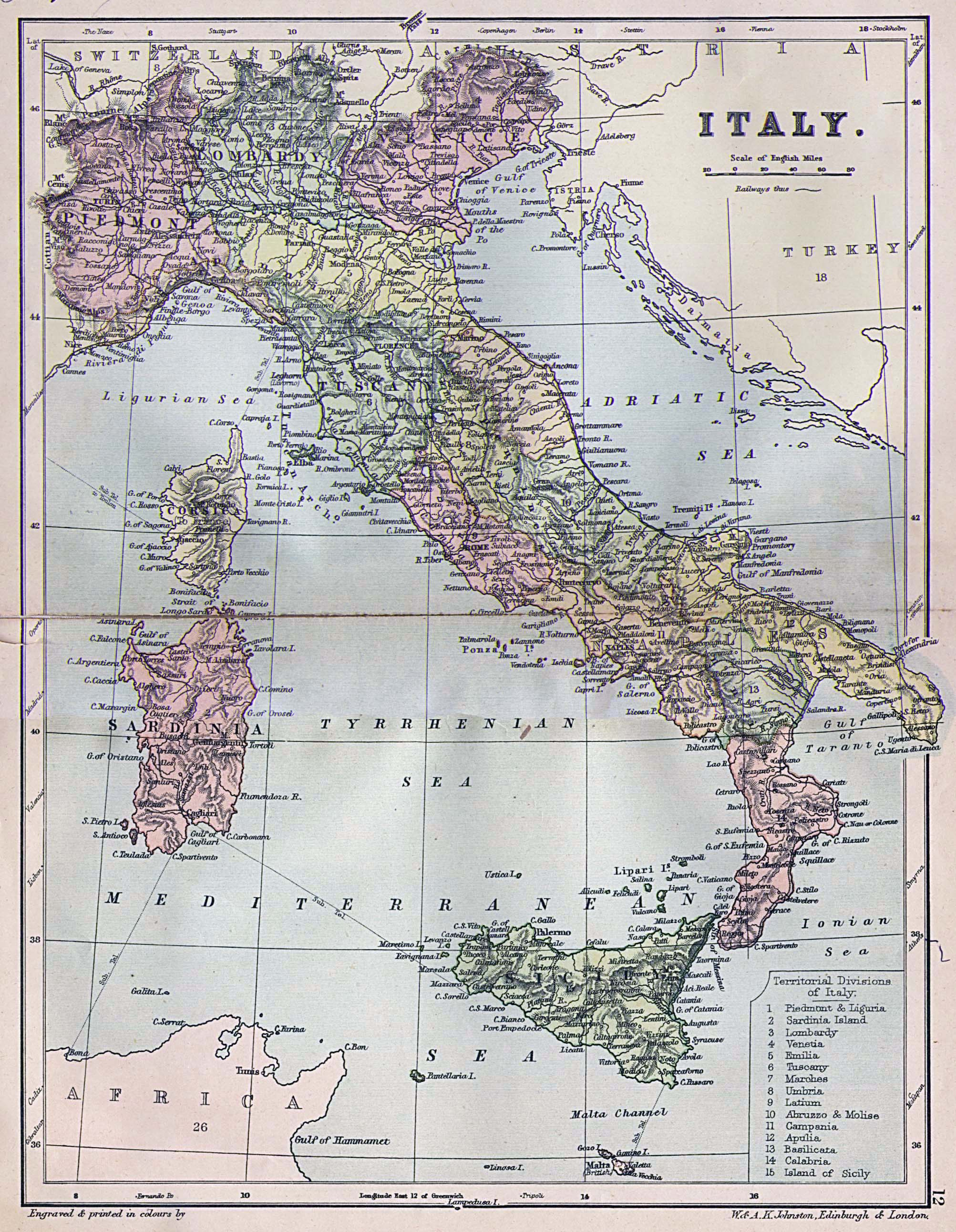 Detailed Old Political Map Of Italy Italy Detailed Old - Political map of italy