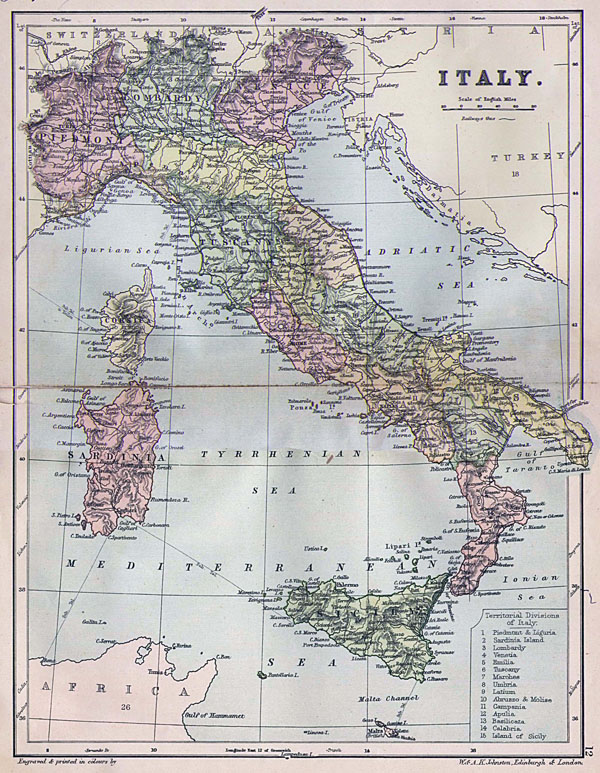 Detailed old political map of Italy - 1882.