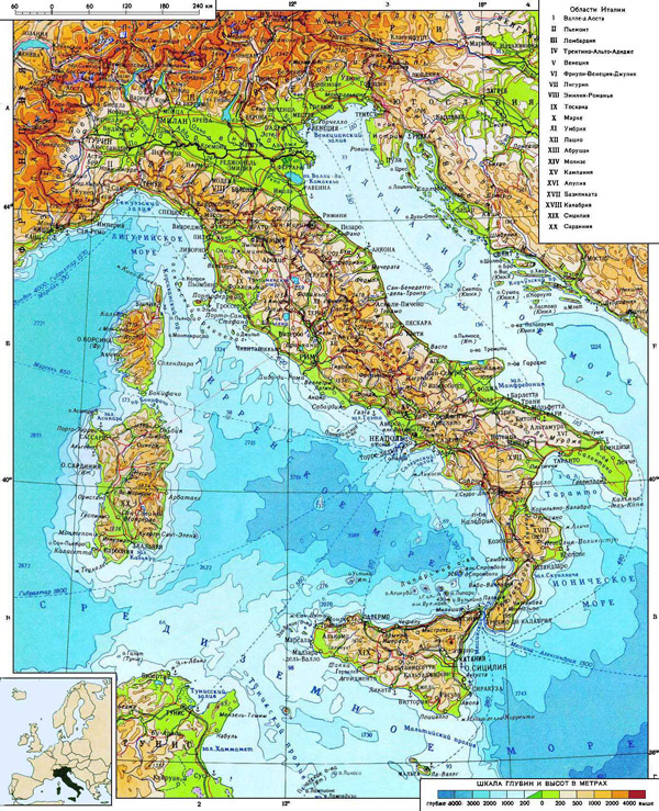Detailed physical map of Italy. Italy detailed physical map.