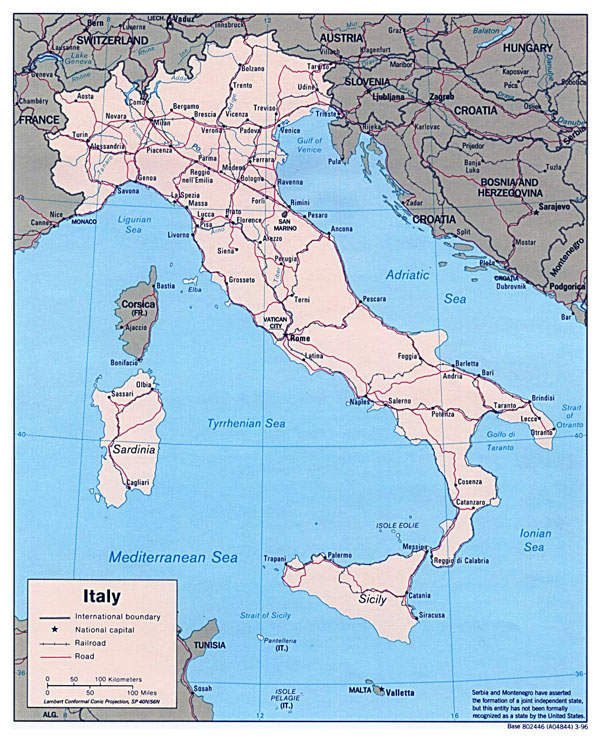 Detailed political map of Italy - 1996.