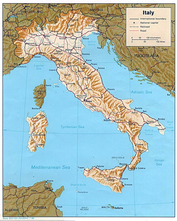 Detailed political map of Italy with relief - 1986.