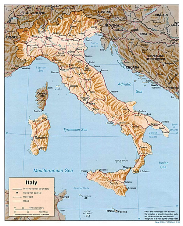 Detailed relief map of Italy. Italy detailed relief map.