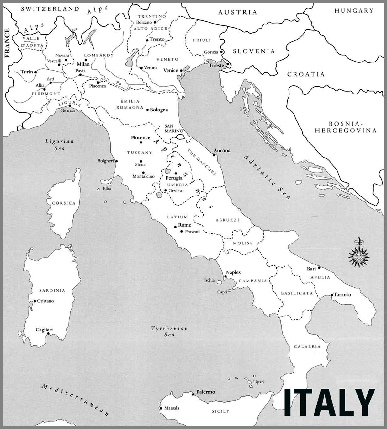 Detailed wine map of Italy Italy detailed wine map Vidianicom
