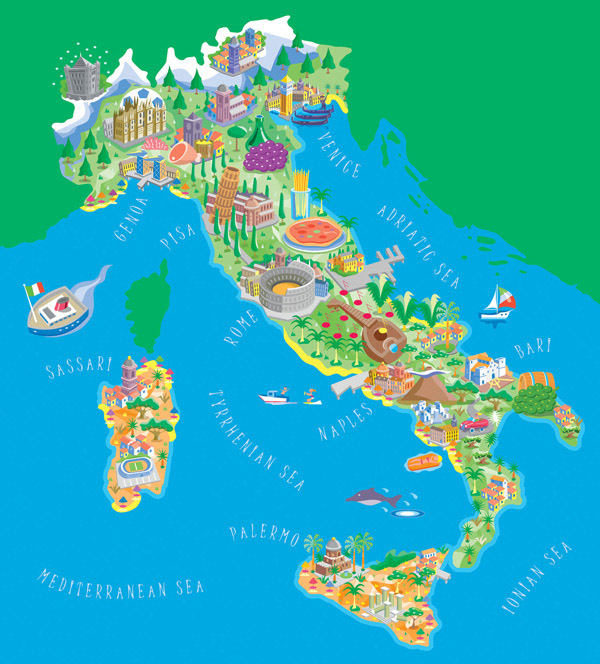 Large detailed illustrated tourist map of Italy.