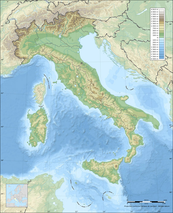 Large detailed physical map of Italy.