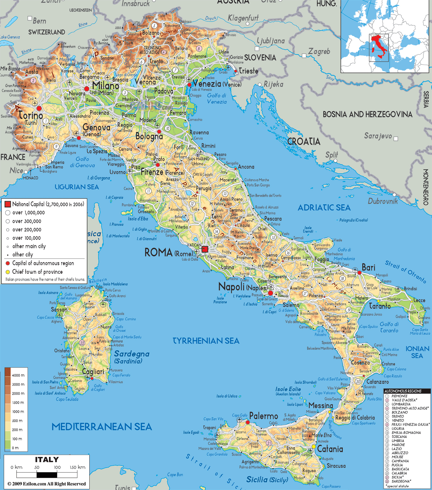 large detailed physical map of italy with all cities roads and airports