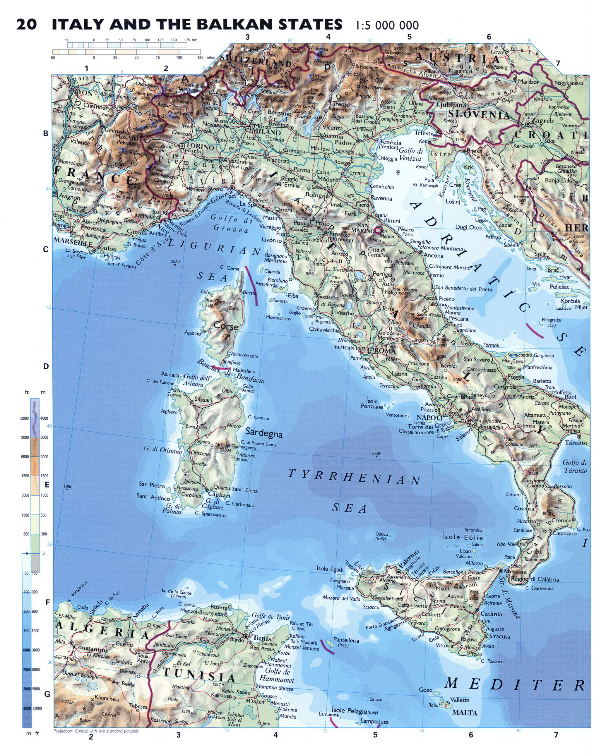 Map Of Cities Italy.Large Detailed Physical Map Of Italy With Roads And Major Cities