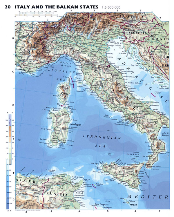 Large detailed physical map of Italy with roads and major cities.