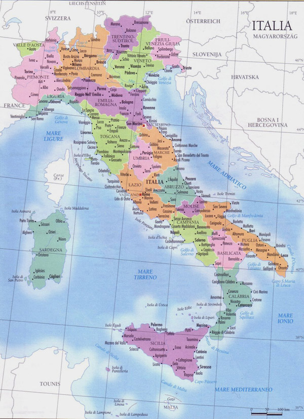 Large detailed regions map of Italy with cities.
