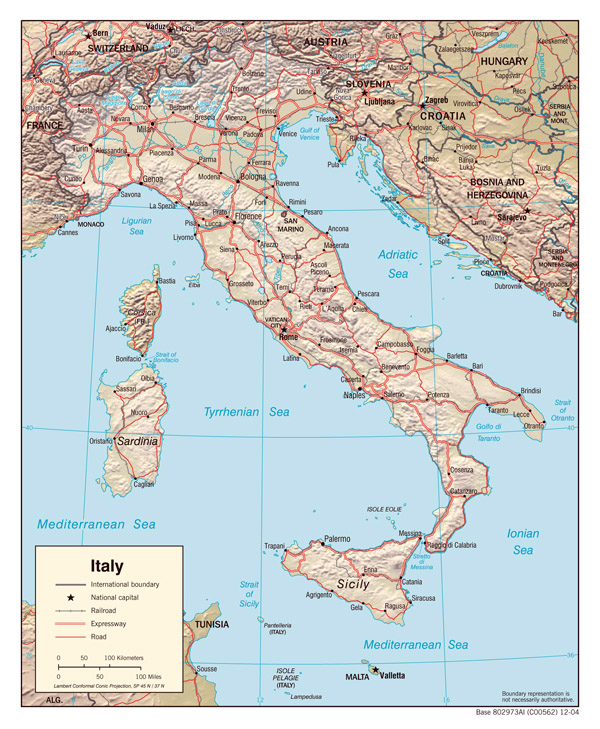 Large detailed relief and political map of Italy with major cities and highways.
