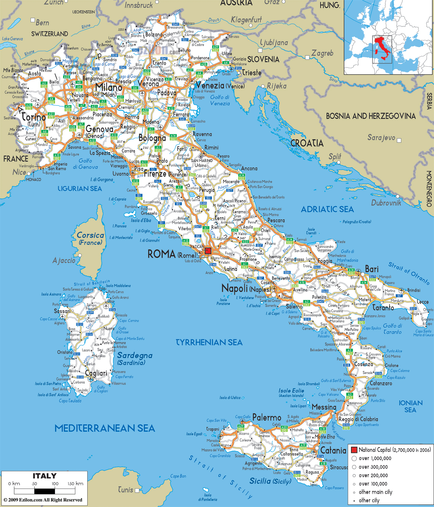 Map Of Cities Italy.Large Detailed Road Map Of Italy With All Cities And Airports