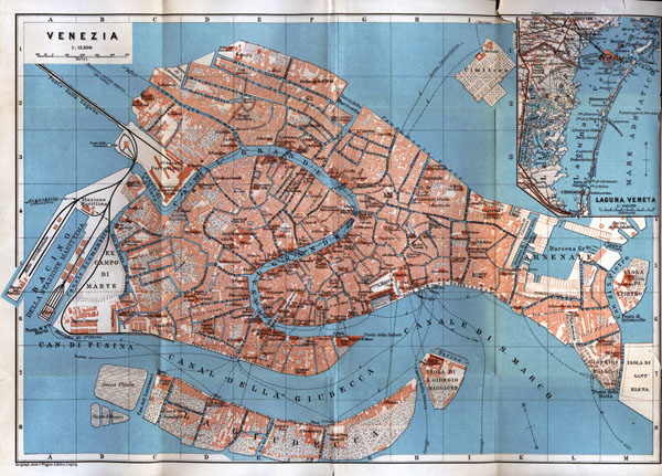 Large old map of Venice city center - 1913.