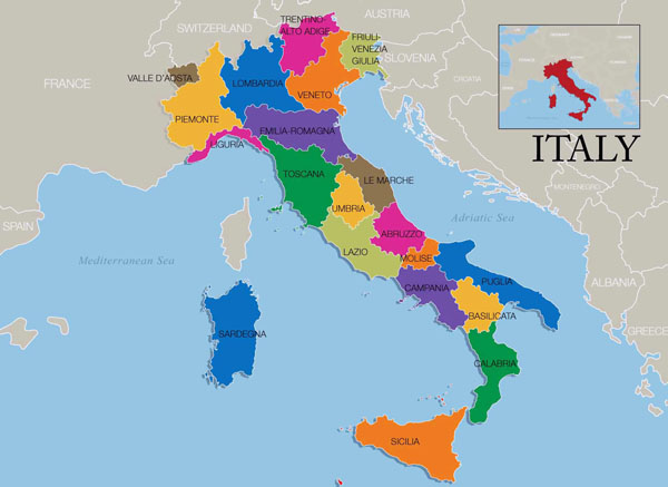 Map of Italy wine regions. Wine regions map of Italy.