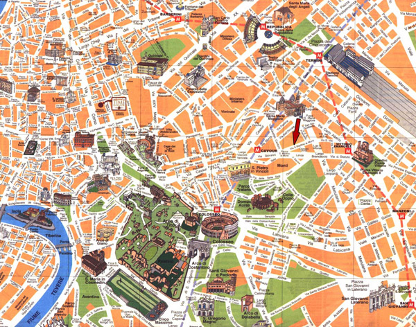 Detailed travel map of Rome city center.